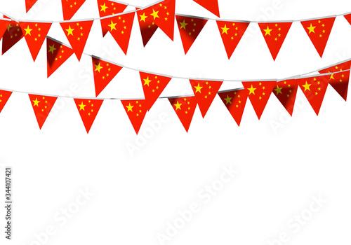Photo China flag festive bunting against a plain background