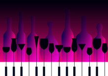 Piano Keyboard And Cocktail Glasses In A Purple Blue Background With Bottles Silhouettes