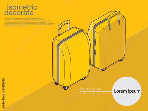 Yellow baggage on color yellow on background Canvas Print