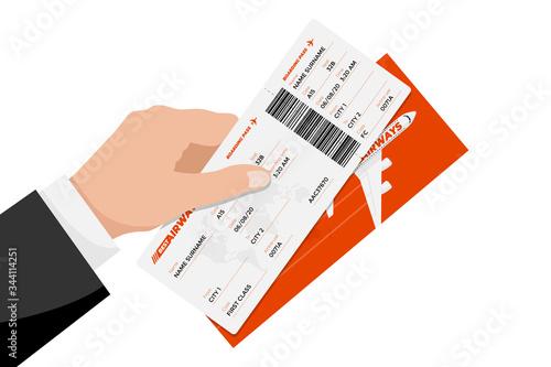 Businessman hand holding flight ticket boarding pass Canvas Print