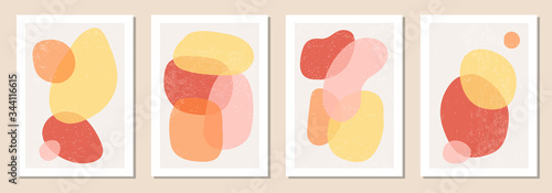Obraz Set of minimal posters with abstract organic shapes composition in trendy contemporary collage style - fototapety do salonu