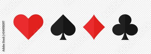 Pocer card suits set flat icon on white background Fototapeta