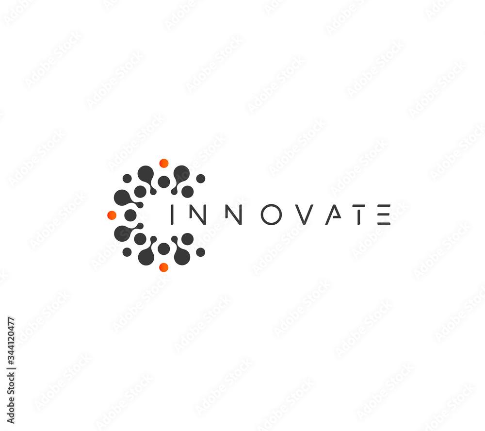 Fototapeta Innovate technology startup logo concept, round emblem, solution symbol, isolated vector logotype on white background