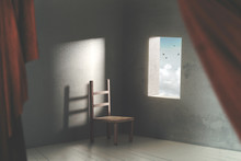 Surreal Room With Chair An Open Window