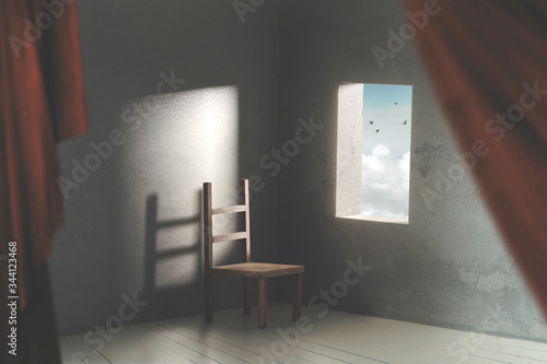 Photo surreal room with chair an open window