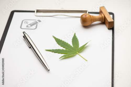 Medical marijuana prescription with stethoscope . Canvas Print
