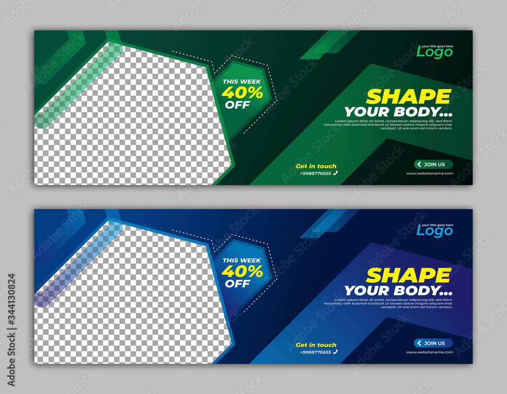 Fototapeta Gym Fitness Banner template facebook cover for business promotion