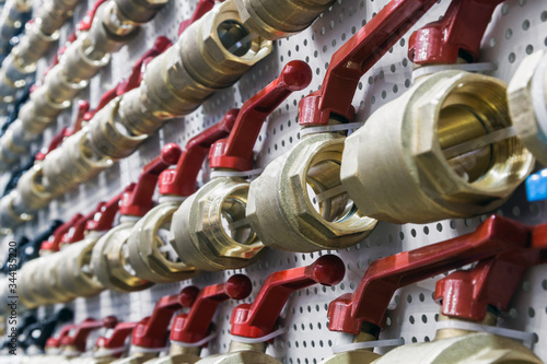 many different water ball valves for plumbing or gas works Canvas Print
