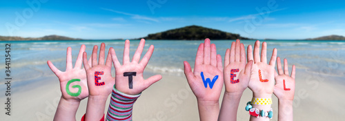 Fotografie, Tablou Children Hands Building Colorful English Word Get Well