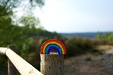 Fototapeta Tęcza - Cute bright coloured rainbow against a dark forest background with a white sunny sky. LGBT rainbow representing love and friendship as well as NHS workers on the frontline