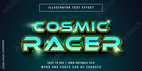 Cosmic Racer, Game Title Graphic Style Editable Text Effect Canvas-taulu