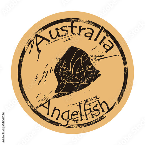 Australian scribbled angelfish silhouette icon round shabby emblem design old retro style Wallpaper Mural