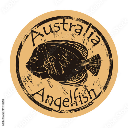 Australian scribbled angelfish silhouette icon round shabby emblem design old retro style Canvas Print