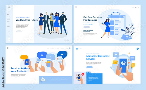 Set of flat design web page templates of business services, digital marketing, social media, our team, online communic. Modern vector illustration concepts for website and mobile website development.