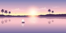Sail Boat On The Ocean At Suns...