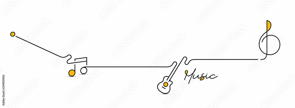 Fototapeta Abstract flat line with music note motion shapes. Pattern for cover design, poster, banner, decoration.