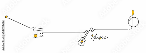 фотография Abstract flat line with music note motion shapes