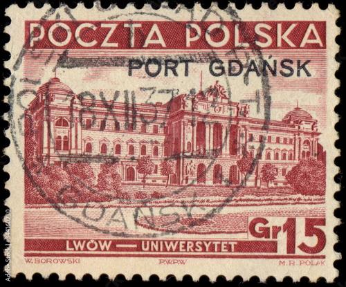 Valokuvatapetti Kasownik Poczty Polskiej w Gdańsku (odbity 1937) na znaczku z nadrukiem PORT GDAŃSK