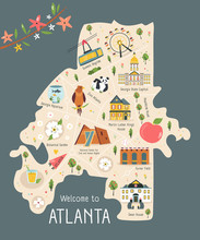 Illustrated Map Of Atlanta With Famous Symbols