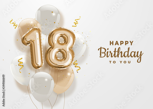 Tela Happy 18th birthday gold foil balloon greeting background