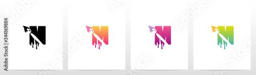 Painting Brush On Letter Logo Design M Canvas Print