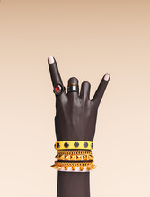 Rock Hand Sign, Female Hand Punk Rock Gesture With Gold Wrist Bracelets And Finger Rings Isolated, Creative Art Protest Banner, Fashion Hipster Accessories, 3d Rendering