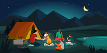 Happy Family Camping In The Fo...