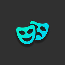 Smile And Sad Masks, Comedy And Drama Theater, Opposite Emotions. Icon With Happy And Depressed Faces. Colorful Logo Concept With Soft Shadow On Dark Background. Icon Color Of Azure Ocean