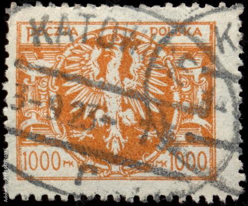 Fototapeta Katowice. Kasownik pocztowy (1923) o charakterystycznym dla tego miasta owalnym kształcie, odbity na znaczku z okresu inflacji. obraz