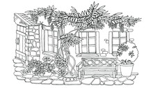 Coloring, Cute Courtyard With ...