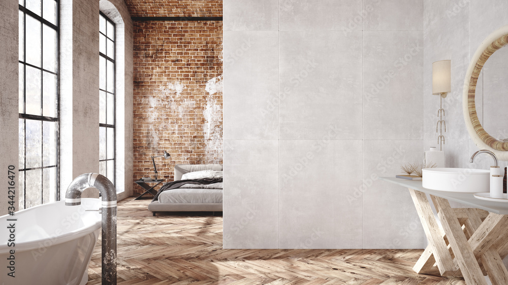 Fototapeta Loft apartment, industrial style ,3d render