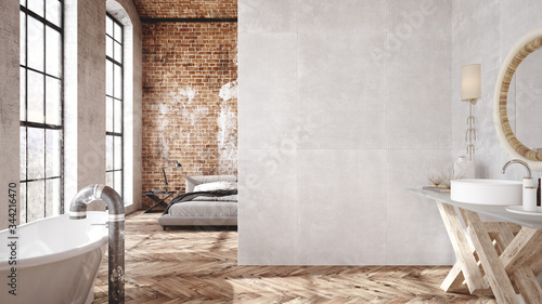 Obraz Loft apartment, industrial style ,3d render - fototapety do salonu