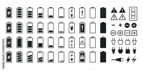 Obraz Battery and battery icon set - fototapety do salonu