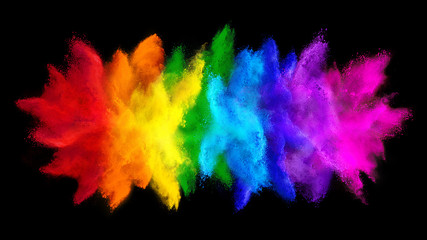 colorful rainbow holi paint color big  double powder explosion isolated dark black wide panorama background. peace rgb beautiful party concept