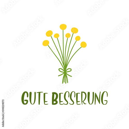 Hand sketched Gute Besserung quote in German Fototapet
