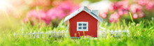 Red Wooden House On The Grass ...
