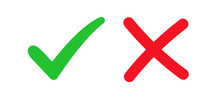 Set Check Mark And Cross. Vect...
