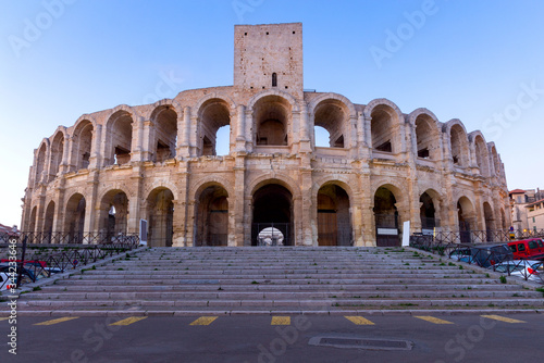 Photo France. Arles. Old antique roman amphitheater arena.