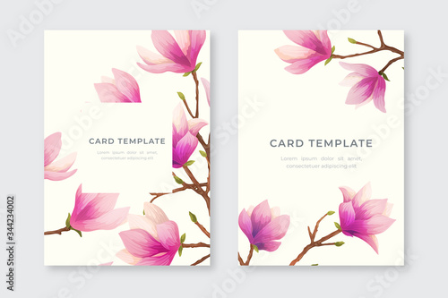 Valokuva Greeting cards with magnolia