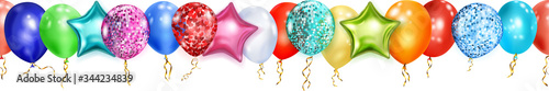 Fotografía Banner with multicolored shiny balloons, round and in the shape of stars, with r