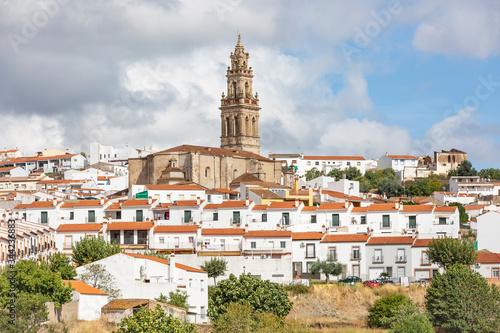 a view of Jerez de los Caballeros city including the Santa Catalina parish church, province of Badajoz, Extremadura, Spain