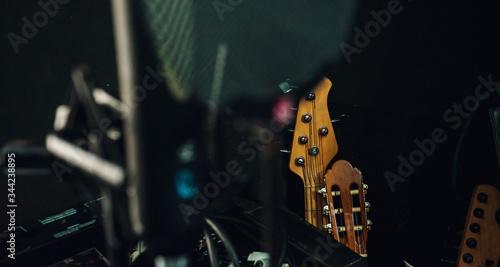 recording studio. microphone, quif guitar Wallpaper Mural