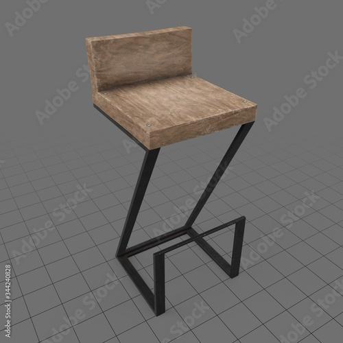 Fototapeta Modern wooden bar stool obraz