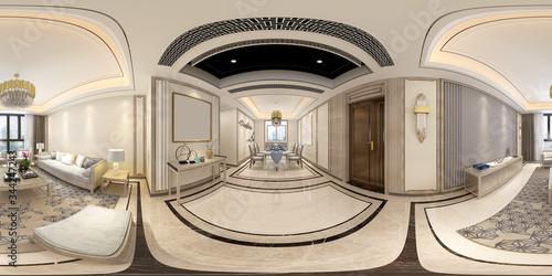 Papel de parede 360 degrees og home living room, 3d rendering