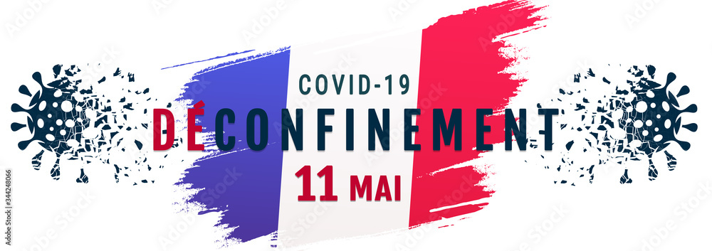 Fototapeta French de-containment on 11 may, Deconfinement coronavirus banner concept