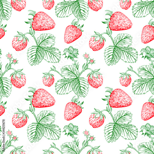 Strawberry vector color seamless pattern drawing. Isolated hand drawn berry and leaf on white background. Summer fruit engraved style illustration. Detailed vegetarian food. Fototapete