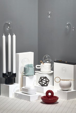 Arrangement Of Cups And Candles With Bubbles