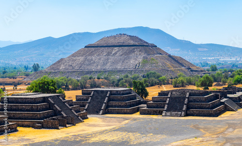 The Sun Pyramid and minor temples without people in Teotihuacan, Mexico City, Mexico.