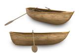 Old wooden boat with oar, 3d render