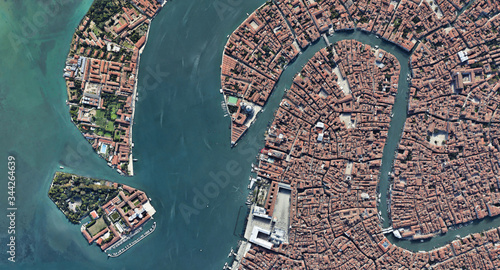 Venice Italy from the altitude of the quadrocopter, Grand canal, 2019 in 3D © ppicasso